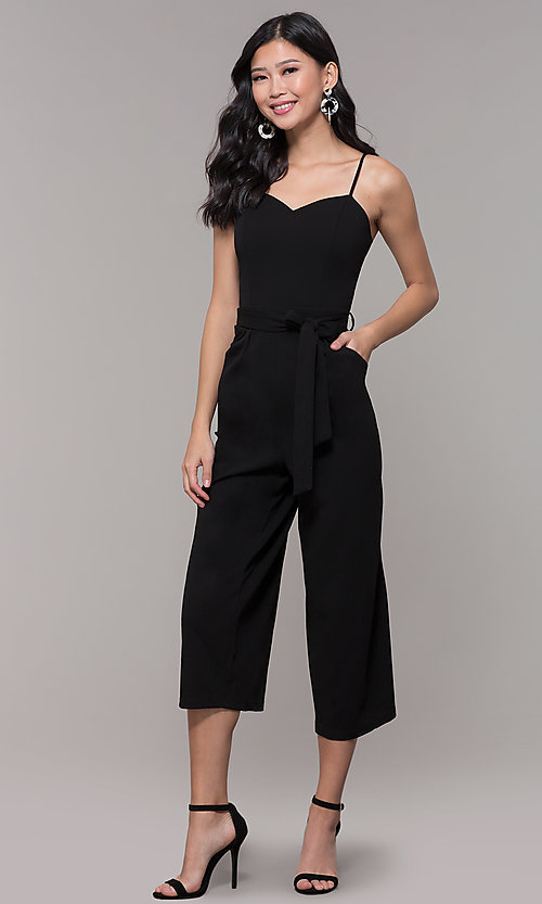 Image of cropped-leg black holiday party jumpsuit. Style: EM-FWL-3405-001 Front Image