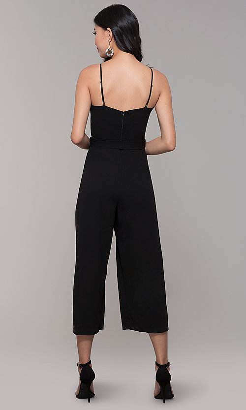 Image of cropped-leg black holiday party jumpsuit. Style: EM-FWL-3405-001 Back Image