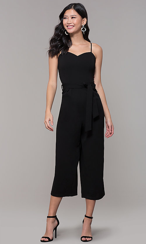 Image of cropped-leg black holiday party jumpsuit. Style: EM-FWL-3405-001 Detail Image 3