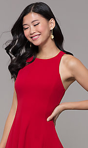 Image of short red princess-cut holiday party dress. Style: EM-FQS-3405-600 Detail Image 1