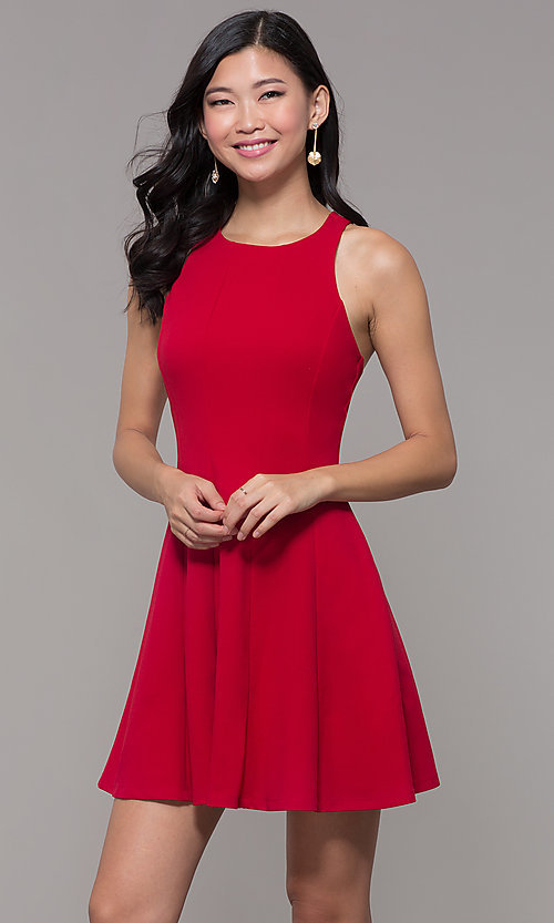 Image of short red princess-cut holiday party dress. Style: EM-FQS-3405-600 Front Image