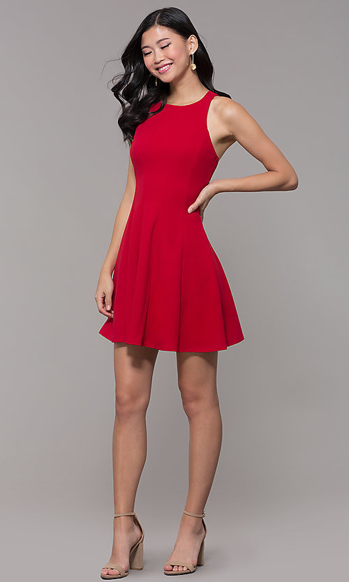 Image of short red princess-cut holiday party dress. Style: EM-FQS-3405-600 Detail Image 3