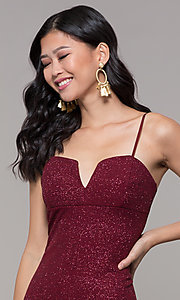 Image of short glitter-knit holiday party dress in wine red. Style: EM-FWD-1356-550 Detail Image 1