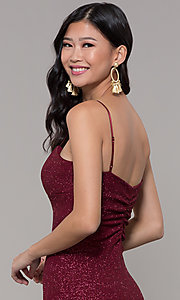 Image of short glitter-knit holiday party dress in wine red. Style: EM-FWD-1356-550 Detail Image 2
