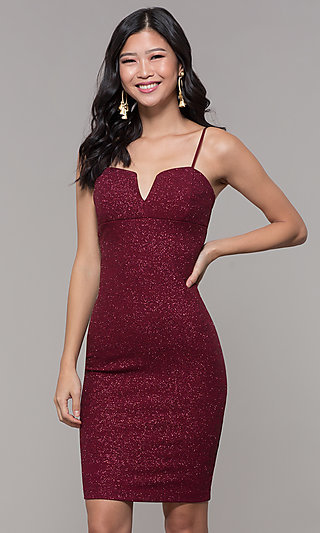 Short Glitter-Knit Holiday Party Dress in Wine Red