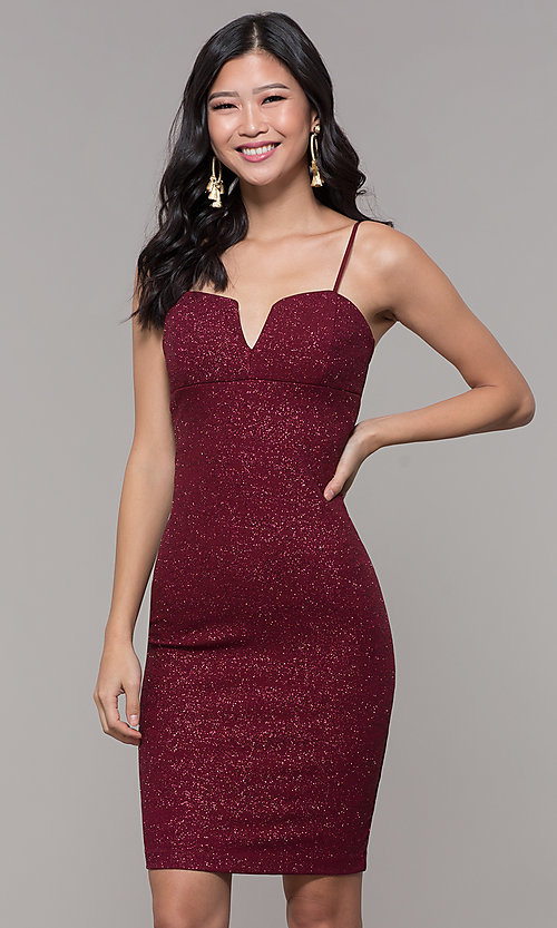 Image of short glitter-knit holiday party dress in wine red. Style: EM-FWD-1356-550 Front Image