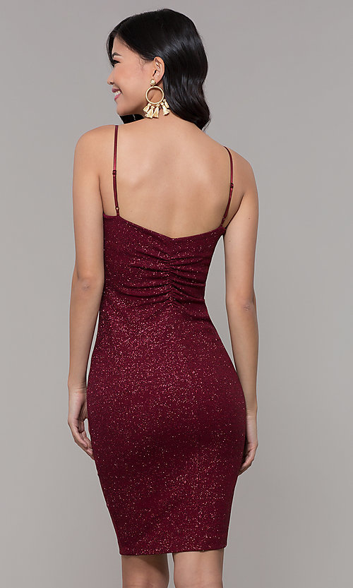 Image of short glitter-knit holiday party dress in wine red. Style: EM-FWD-1356-550 Back Image