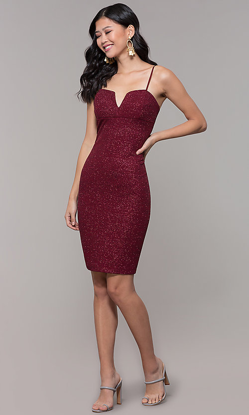 Image of short glitter-knit holiday party dress in wine red. Style: EM-FWD-1356-550 Detail Image 3