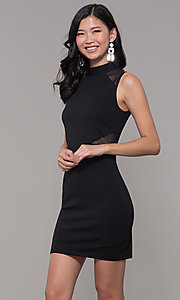 Image of high-neck black illusion-cut-out holiday party dress. Style: EM-HFA-3146-001 Front Image