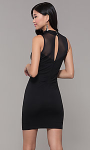 Image of high-neck black illusion-cut-out holiday party dress. Style: EM-HFA-3146-001 Back Image