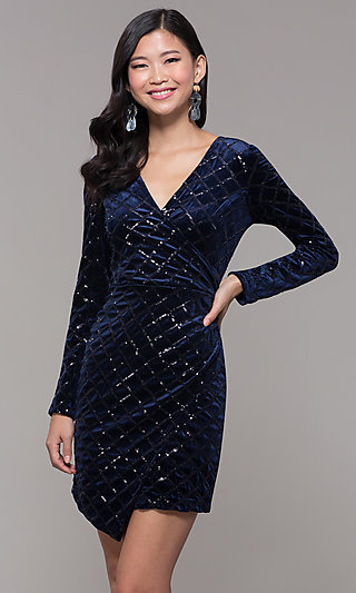 Long Sleeve Faux Wrap Velvet Holiday Party Dress