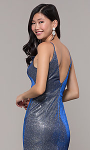 Image of long blue and silver metallic v-neck prom dress. Style: DMO-J323057 Detail Image 2