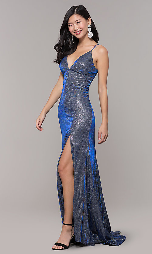 Image of long blue and silver metallic v-neck prom dress. Style: DMO-J323057 Detail Image 3