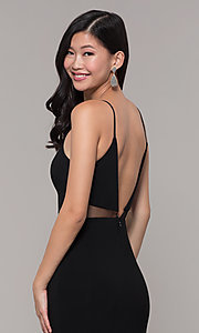Image of long black open-back prom dress with side slit. Style: DMO-J323697 Detail Image 2