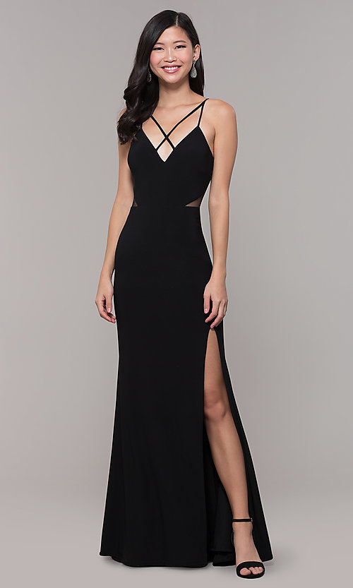 Image of long black open-back prom dress with side slit. Style: DMO-J323697 Front Image
