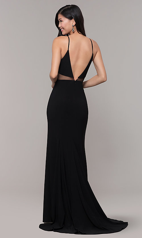 Image of long black open-back prom dress with side slit. Style: DMO-J323697 Back Image
