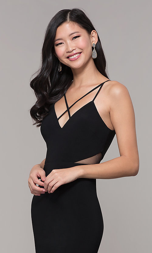 Image of long black open-back prom dress with side slit. Style: DMO-J323697 Detail Image 1