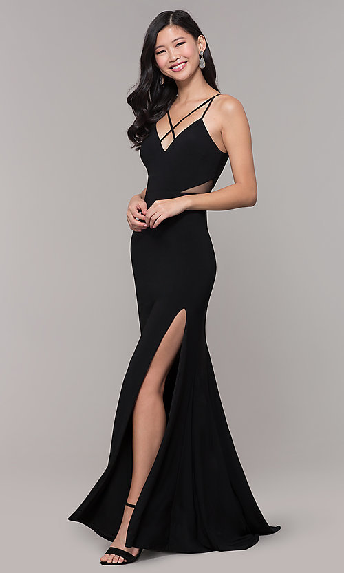 Image of long black open-back prom dress with side slit. Style: DMO-J323697 Detail Image 3
