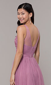 Image of v-neck long mauve pink prom dress by PromGirl. Style: LP-PL-27094-1 Detail Image 2