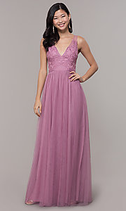 Image of v-neck long mauve pink prom dress by PromGirl. Style: LP-PL-27094-1 Detail Image 3