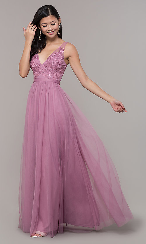 Image of v-neck long mauve pink prom dress by PromGirl. Style: LP-PL-27094-1 Front Image