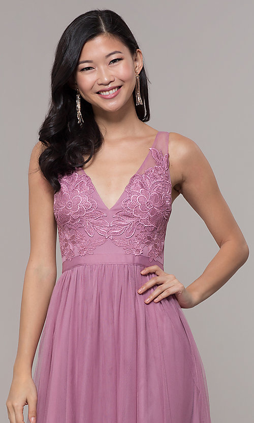 Image of v-neck long mauve pink prom dress by PromGirl. Style: LP-PL-27094-1 Detail Image 1
