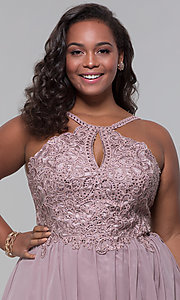 Image of short high-neck-bodice plus-size homecoming dress. Style: DQ-3043P Detail Image 1
