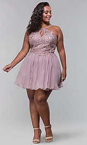 Image of short high-neck-bodice plus-size homecoming dress. Style: DQ-3043P Detail Image 3