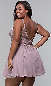 Image of short high-neck-bodice plus-size homecoming dress. Style: DQ-3043P Back Image
