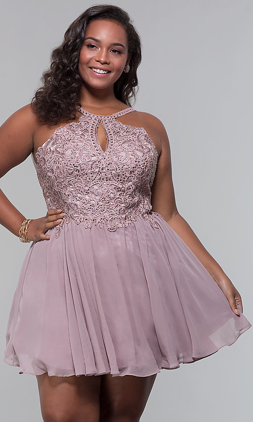 Image of short high-neck-bodice plus-size homecoming dress. Style: DQ-3043P Front Image