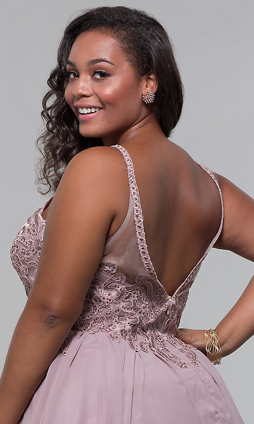 Image of short high-neck-bodice plus-size homecoming dress. Style: DQ-3043P Detail Image 2