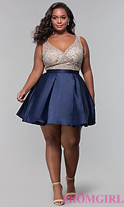 Image of homecoming plus-size v-neck short a-line dress. Style: DQ-3092P Detail Image 3
