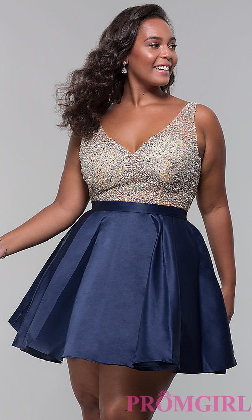 Image of homecoming plus-size v-neck short a-line dress. Style: DQ-3092P Front Image