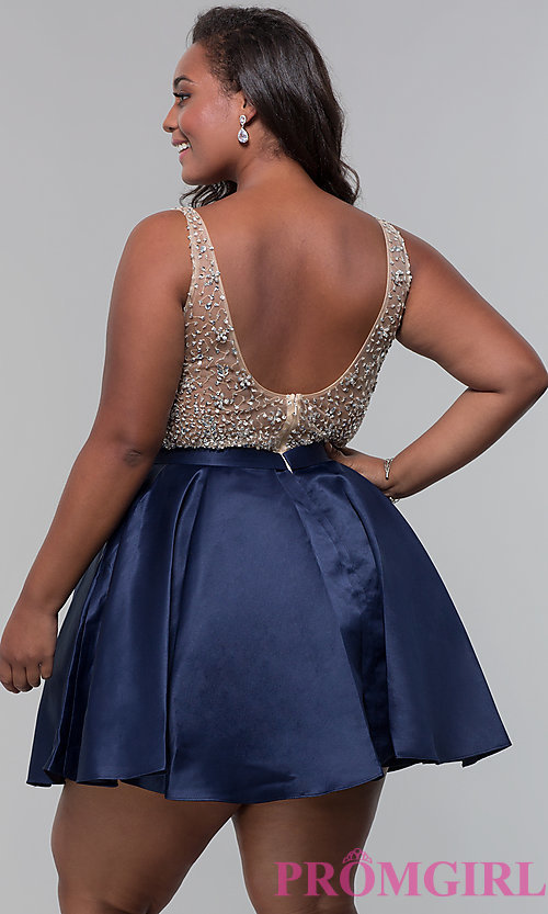 Image of homecoming plus-size v-neck short a-line dress. Style: DQ-3092P Back Image