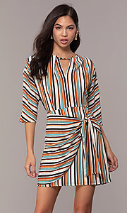 Image of three-quarter-sleeve striped short party dress. Style: EM-FZW-3907-711 Front Image