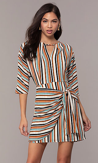 3/4 Sleeve Striped Short Party Dress