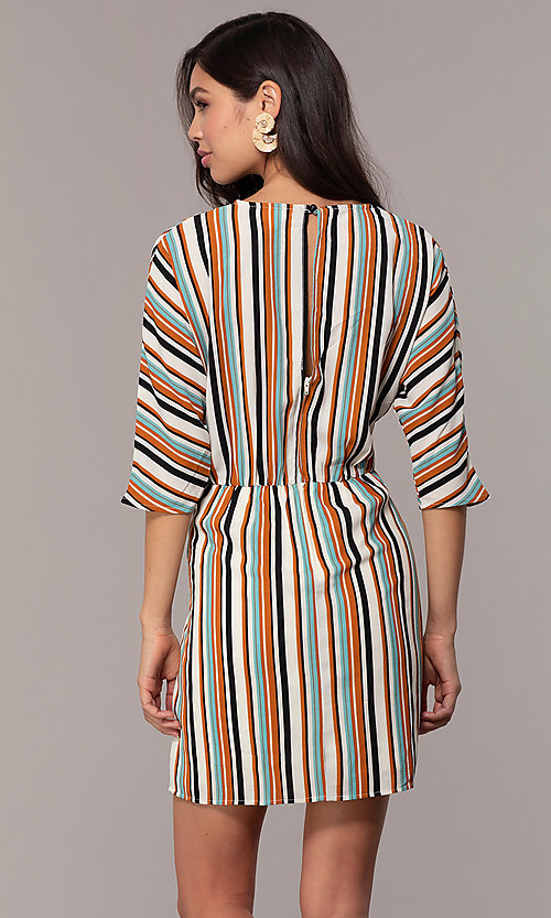 Image of three-quarter-sleeve striped short party dress. Style: EM-FZW-3907-711 Back Image