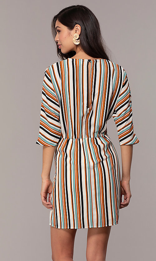 Image of three-quarter-sleeve striped short party dress. Style: EM-FZW-3907-711 Detail Image 1