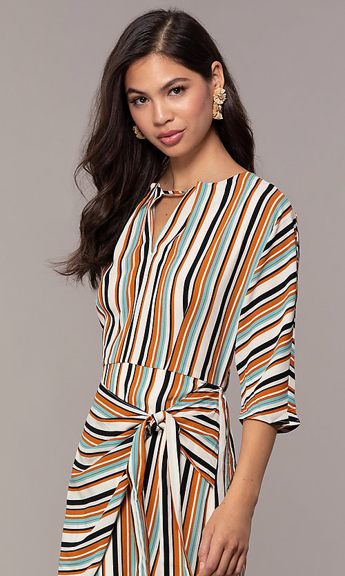 Image of three-quarter-sleeve striped short party dress. Style: EM-FZW-3907-711 Detail Image 2