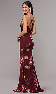 Image of floral-print chiffon long prom dress by Simply. Style: MCR-SD-2660 Back Image