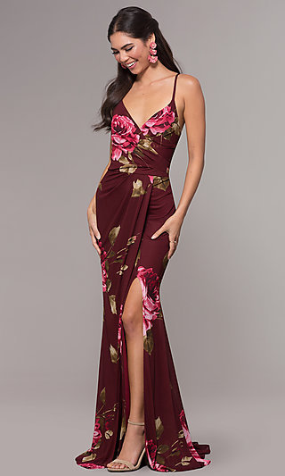 Floral-Print Chiffon Long Prom Dress by Simply
