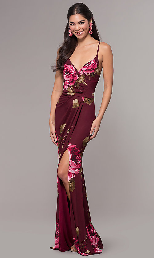 Image of floral-print chiffon long prom dress by Simply. Style: MCR-SD-2660 Detail Image 3