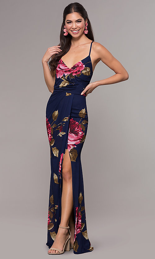 Image of floral-print chiffon long prom dress by Simply. Style: MCR-SD-2660 Detail Image 4