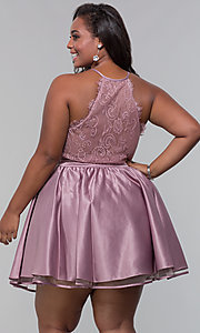 Image of plus lace-back short homecoming dress by PromGirl. Style: DQ-PL-3093P Back Image
