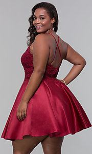 Image of plus-size short homecoming dress with lace accents. Style: DQ-3028P Back Image