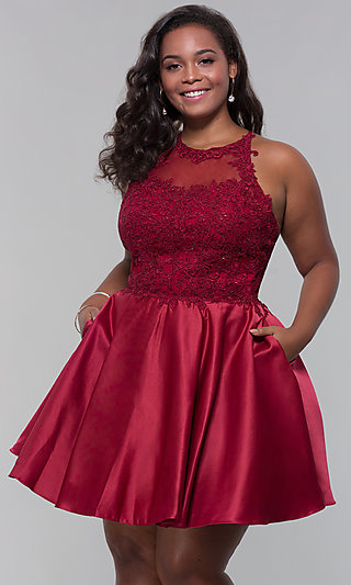 16280fc3349 Plus-Size Short Homecoming Dress with Lace Accents. Share
