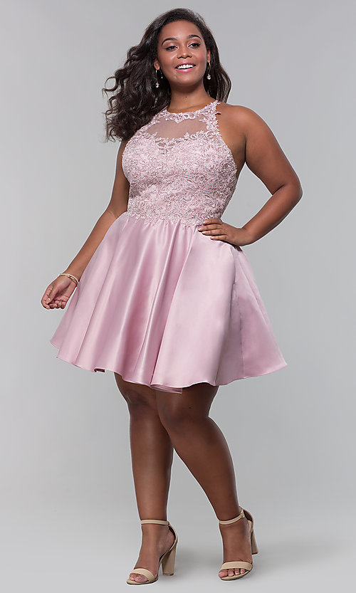 Image of plus-size short homecoming dress with lace accents. Style: DQ-3028P Detail Image 8