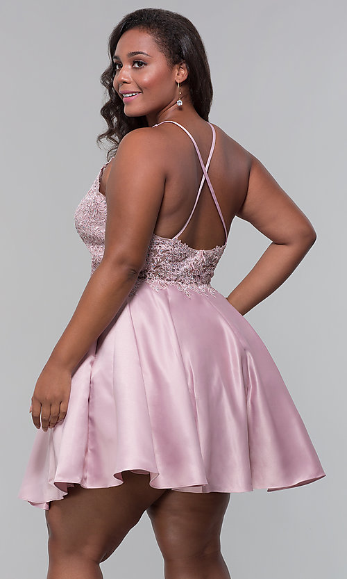 Image of plus-size short homecoming dress with lace accents. Style: DQ-3028P Detail Image 7