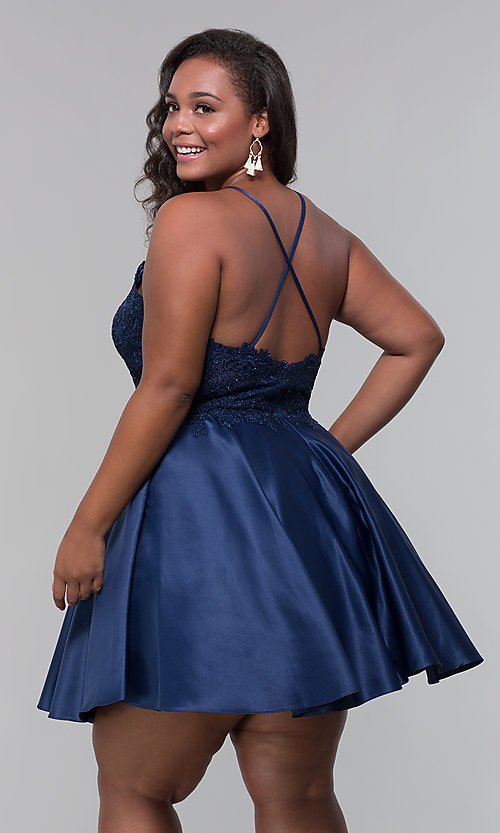 Image of plus-size short homecoming dress with lace accents. Style: DQ-3028P Detail Image 4
