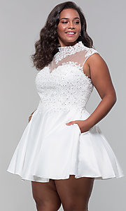 Image of high-neck lace-applique plus-size homecoming dress. Style: DQ-3069P Detail Image 7